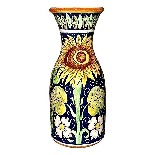 CERAMICHE D'ARTE PARRINI - Italian Ceramic Art Pottery Vase Jar Vessel Decorated Sunflower Hand Painted Made in ITALY Tuscan ()