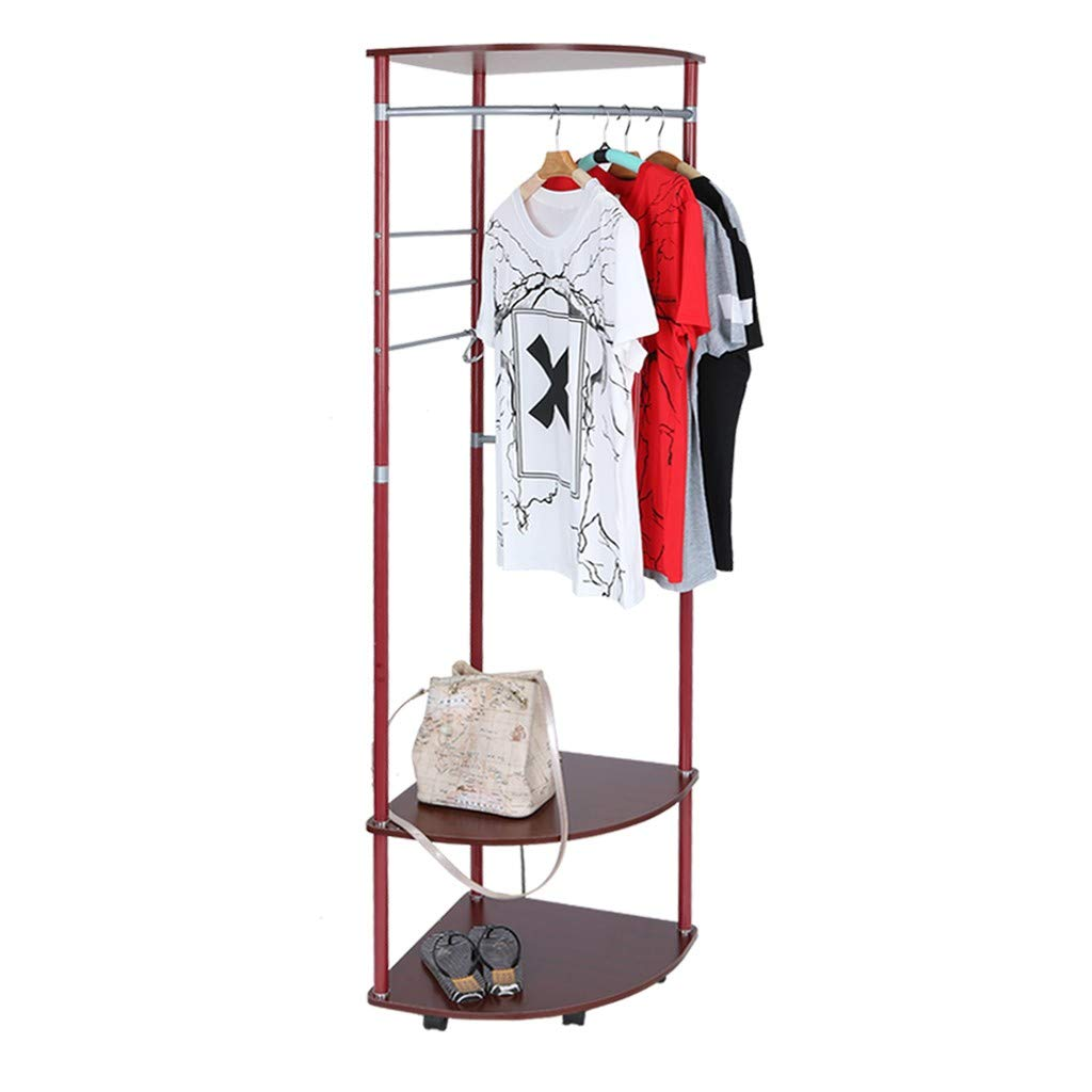 Wine Coat Rack Floor, Multi-Functional Home Hat Coat Bag Umbrella Stand Racks Creativity 2-Tier shoes Hangers (Wine)