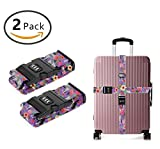 YEAHSPACE 2 Pack Brahman Cow Floral Luggage Strap Straps TSA Combination Lock Adjustable Travel Belts Suitcase Belt