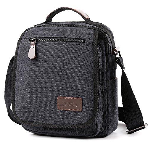 XINCADA Mens Bag Messenger Bag Canvas Shoulder Bags Travel Bag Man Purse Crossbody Bags for Work Business (black) by XINCADA (Image #7)