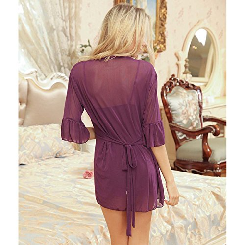 loel Valentine's Day Gift Women Sexy Lingerie 3 Pieces V Neck Transparent Nightwear Lace Chemise For Sex Flirt Violet