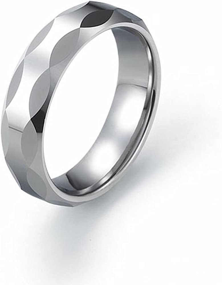 Tungsten 6mm Faceted Style Wedding Band