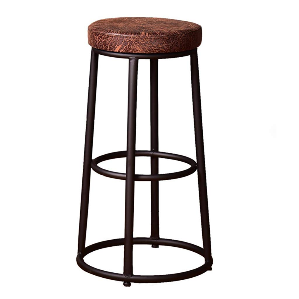 29.5inch PU Artificial Leather Material Modern Household Industrial Style Retro bar Stool, Black Metal Base, 2in Sponge Cushion (Brown)