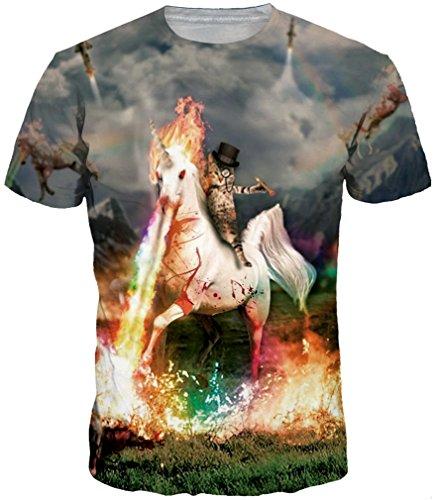 Maniche Cool Uomini Per 3d shirts Emilyle Gatti Design T Ragazzi Stampa Magliette Con Colorate Unicorno A Corte E fZnYqwd