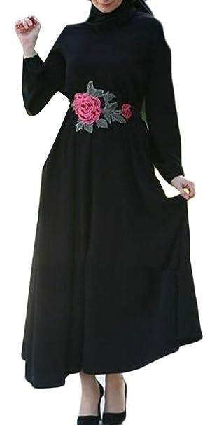 4fc586b9 Wofupowga Women's Islamic Ethnic Muslim Big Hem Embroideried Saudi ...