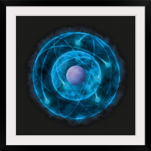 GreatBIGCanvas Illustration of Bohr Model of The Atom Photographic Print with Black Frame