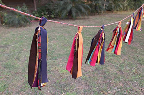 Tassel Set Fabric (Cotton Craft - 2 Pack - BOHO Chic Multi Color Cotton Bohemian Decorative Tassel Garland Set - DIY Decoration for Holidays, Wedding, Camping -Made from recycled cotton strips so actual product may vary)