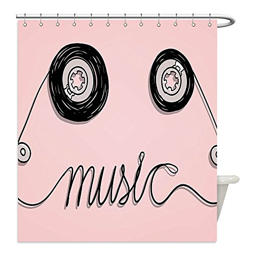 Liguo88 Custom Waterproof Bathroom Shower Curtain Polyester Music Decor Collection Music Letters Written by Cassette Tape Creative Loud Improvisation Beat Pulse Tempo Image Pink Black Decorative bat (New Fresh Beat Band Costumes)