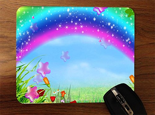 (Cute Girly Rainbow Scenic Print Desktop Office Silicone Mouse)