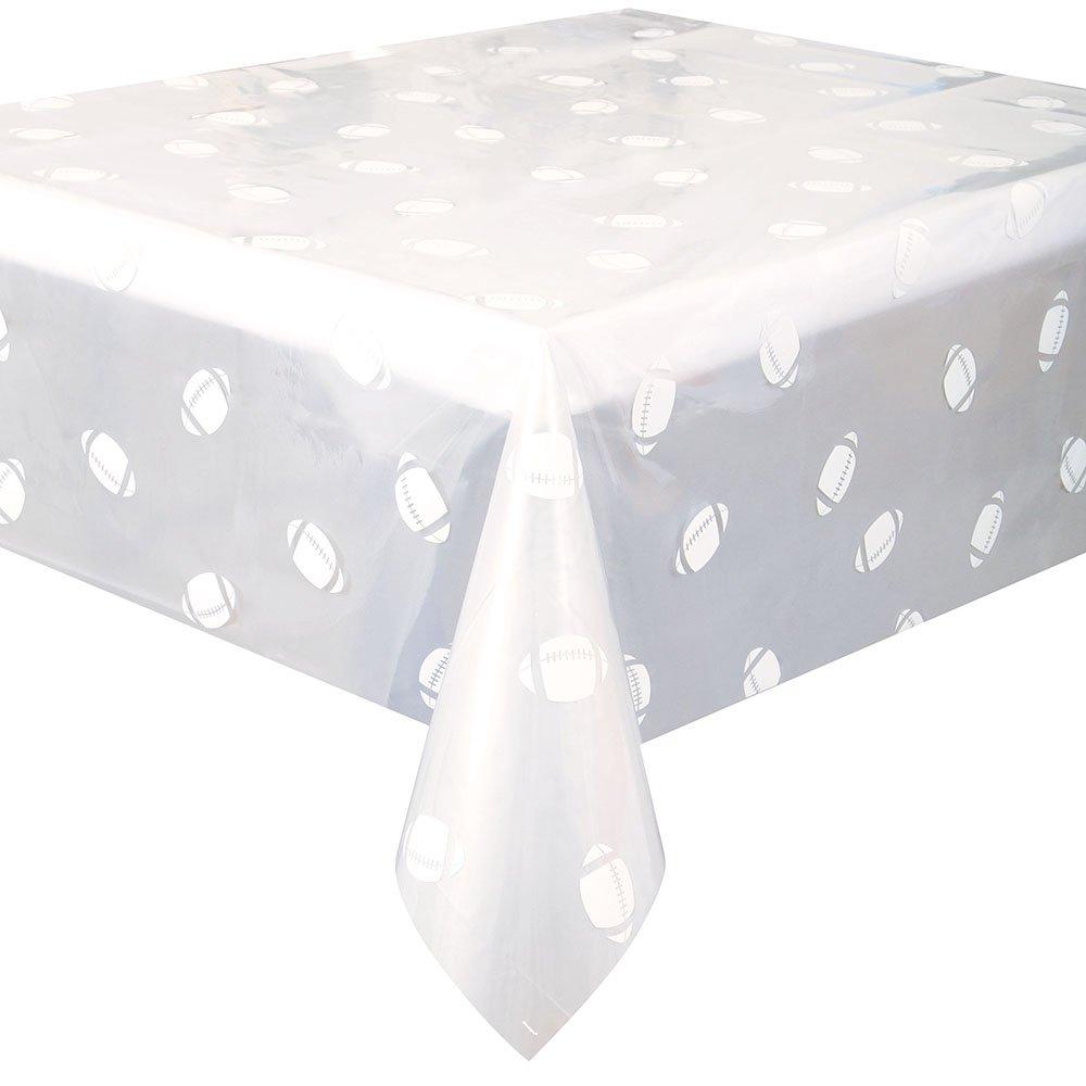 Clear Football Plastic Tablecloth, 108'' x 54''