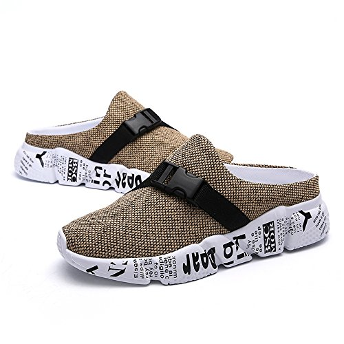 Fino Mesh Close Ciabatte Scarpe Backless alla Taglia Upper Cricket Decor Cachi 46EU da Buckle Uomo Toe da XXzqxfCpw
