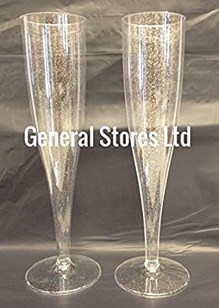 20 x silver glitter clear one piece plastic champagne flutes glasses new product