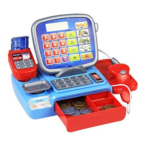(ADSRO Electric Play Pretend Toys Simulation Cash Register Basic Skills Development Toys for Kids 23PCS)