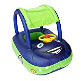 baby pool float with canopy Summer Steering Wheel Sunshade Swim Ring Car Inflatable toys infants Float Seat Boat for kids toddlers(Color blue)