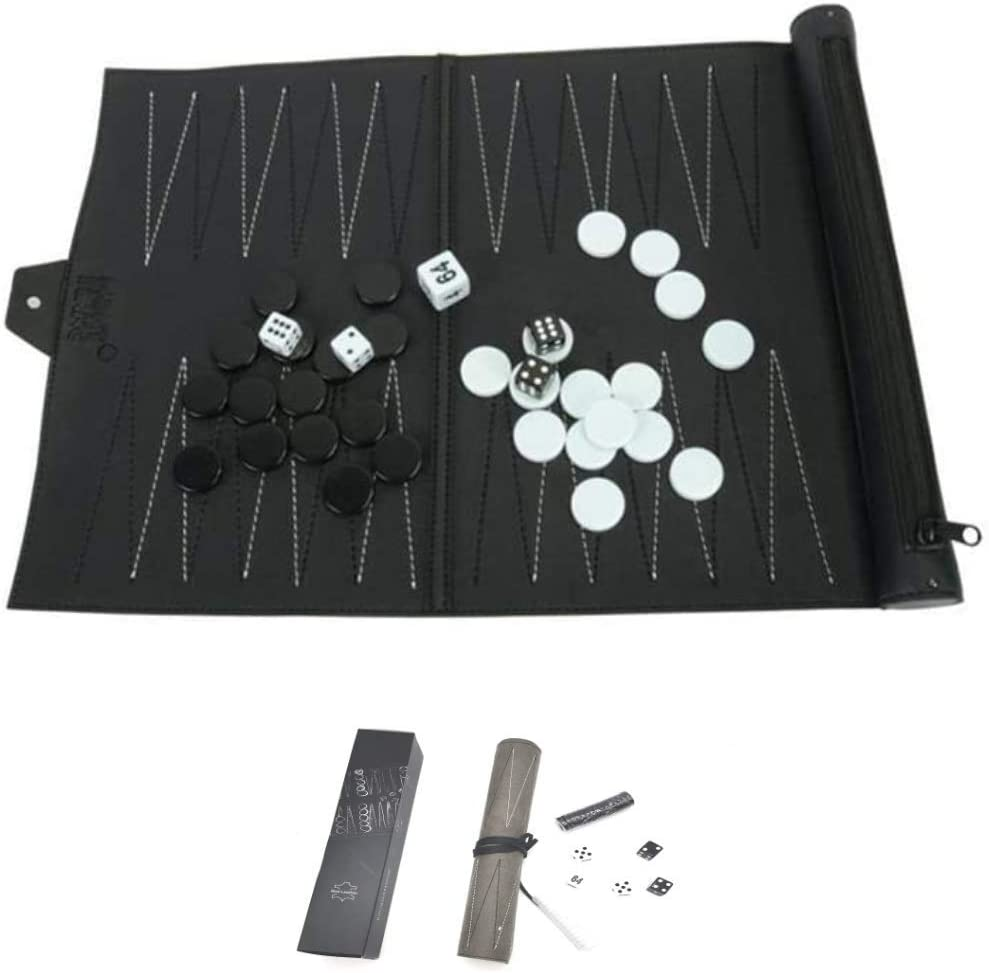 PREMIUM Genuine Leather Travel Backgammon Set Board Party Games and Travel Games for families TourKing Backgammon Set Roll-up Chess Set