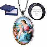 Comfybuy Virgin Mary Mother of Jesus Medal Dome Necklace Madonna and Child Pendant Free Engraving Customized Personalized Prayers Church Blessed Gift For Mother,Daughter,Wife,Girlfriend