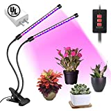 MIYA LED Grow Light Bulb Timing Function, Dual Head Grow Lamp for Indoor Plants Vegetables and Seedlings, Plant Lights Bulb for Hydroponics Garden Greenhouse and Organic Soil [2018 Upgraded]
