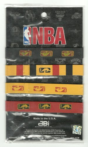 NBA Basketball Baller Id Band Wristbands (4 Per Card) (Red / Yellow / Black)