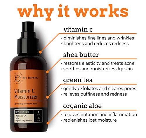 Eve Hansen Natural Vitamin C Face Moisturizer | 4oz Anti Aging Moisturizer with Vitamin B, Green Tea, Jojoba Oil | Anti Wrinkle Face Cream for Dark Spots, Improved Elasticity, Fine Lines, Firmer Skin