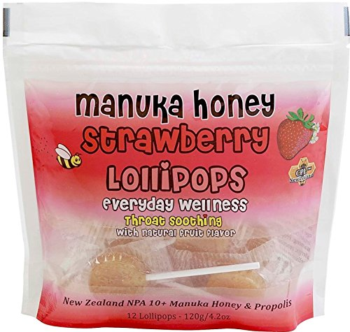 Pacific Resources Children's Strawberry and Manuka Honey Lollipops, 120-gram (Strawberry)