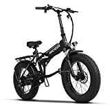 ANCHEER Electric Folding Mountain Bike Fat Tire E Bike 20 Inch Beach Snow Bicycles with 350W Brushless Motor and 48V SAMSUNG Battery 6 Shimano Speeds (Black)