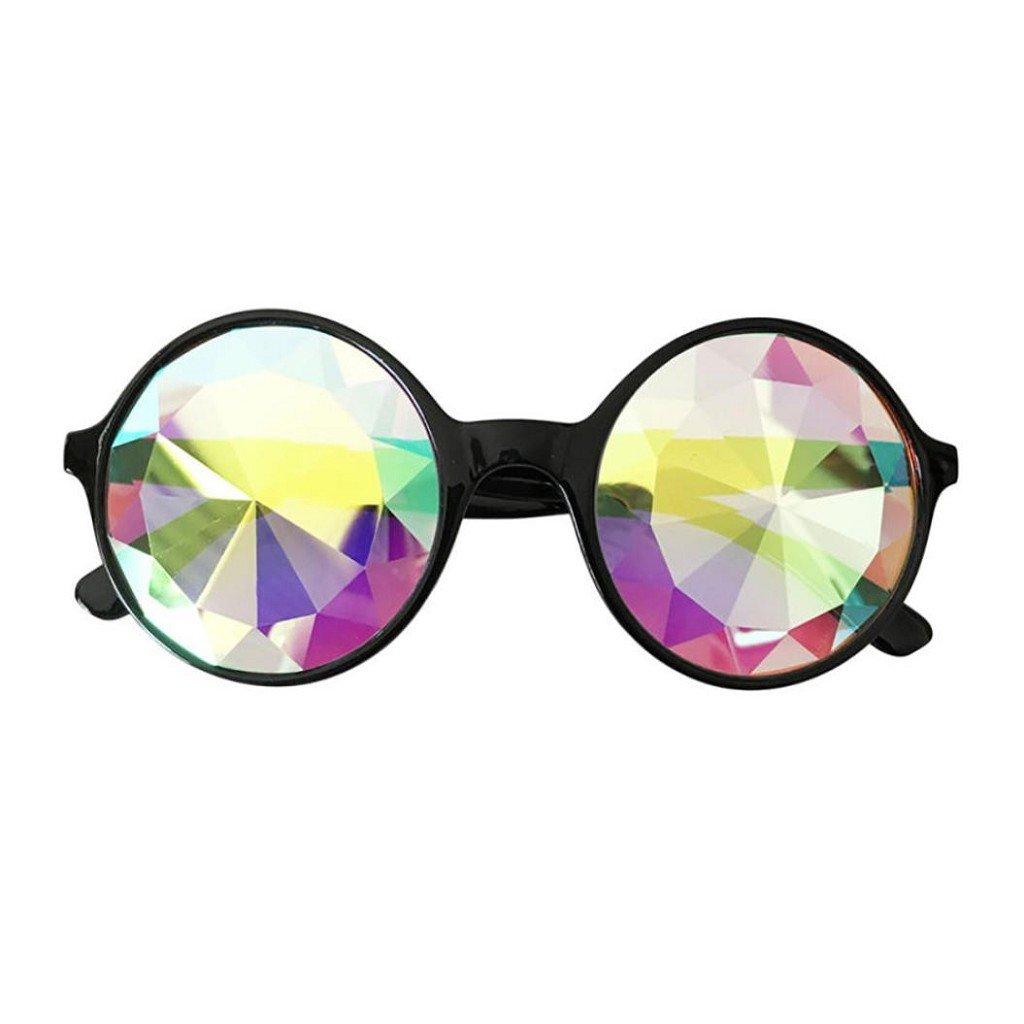 da26d09bbf Creazrise Kaleidoscope Glasses Round Rave Diffracted Lens Festival Party  EDM Sunglasses Pink (Black) at Amazon Women s Clothing store