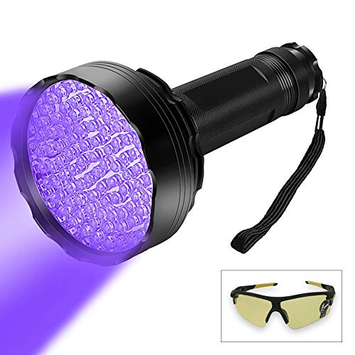 100 LED Professional Black Light UV Flashlight 395 NM UV Detector for Pet Urine Detection Cat Urine, Bed Bugs, Scorpions, Machinery Leaks Inspection for Travel Outdoor/Domestic Use