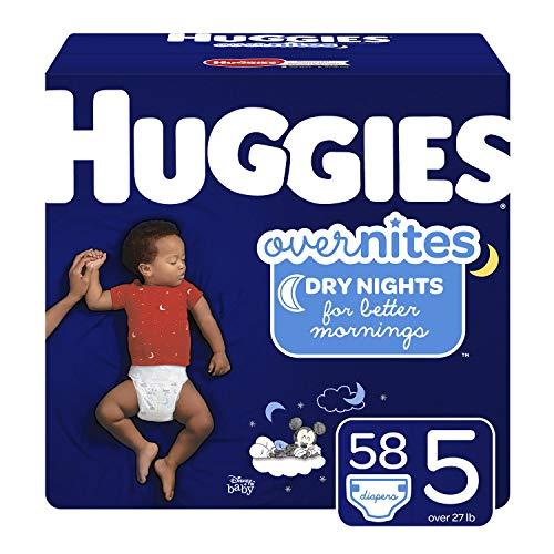 HUGGIES OverNites Diapers, Size 5 (27+ lb.), 58 ct, Overnight Diapers, Giga Jr Pack (Packaging May Vary)