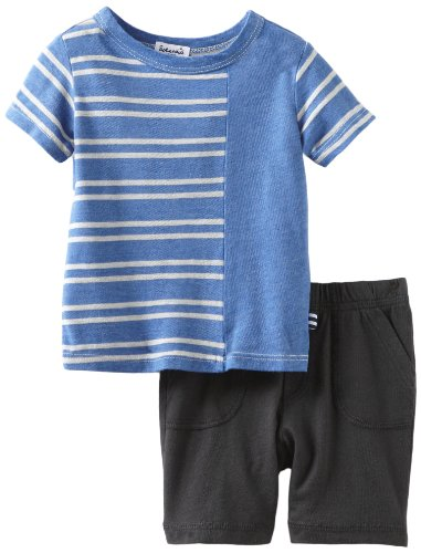Splendid Littles Baby Boys'  Natural Stripe Mix Short Sleeve Short Set, Royal, 12 18 Months