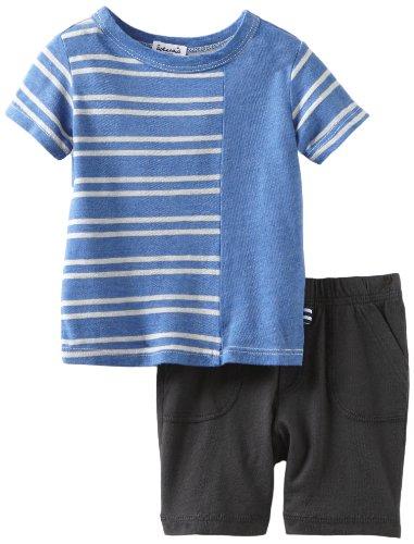 Splendid Littles Baby Boys'  Natural Stripe Mix Short Sleeve Short Set, Royal, 12 18 Months ()