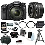 Sony A77II ILCA77M2Q ILCA-77M2Q Digital SLR Camera with 16-50mm F2.8 Lens with Sony SAL30M28 DT 30mm F2.8 SAM Macro Lens + Sony 64GB SD Card + Tiffen 72mm and 49mm UV Protector Filters + Two Replacement NP-FM500H Batteries + Accessory Bundle