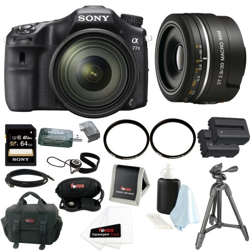 Sony A77II ILCA77M2Q ILCA-77M2Q Digital SLR Camera with 16-50mm F2.8 Lens with Sony SAL30M28 DT 30mm F2.8 SAM Macro Lens + Sony 64GB SD Card + Tiffen 72mm and 49mm UV Protector Filters + Two Replacement NP-FM500H Batteries + Accessory Bundle by Focus Camera