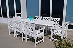 VIFAH Bradley 9 Piece Outdoor White Hardwood Dining Set With Oval Extension  Table U0026 Arm Chairs