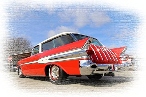 (1957 Pontiac Safari Station Wagon Red Picture on Mouse Pad mousepad Classic Vintage Old Cars Hot Rods Speed Computer Desktop)
