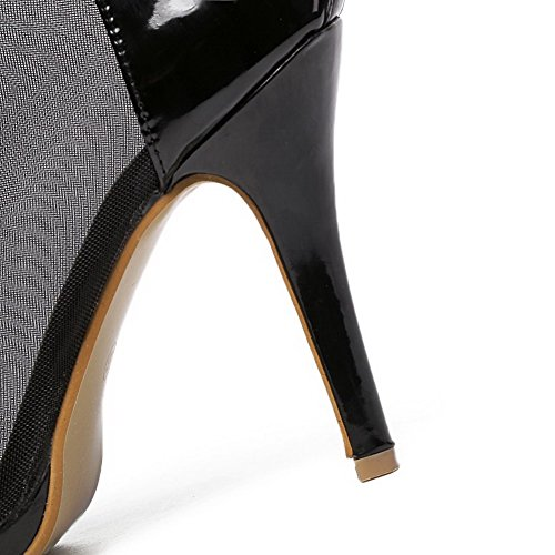 AgooLar Mujeres con Cadenas Peep Tacón de aguja Cremallera Sólido Sandalia Negro