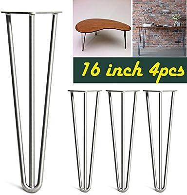 Patas de metal para mesa, diseño de horquilla de 40 cm, 3 varillas ...