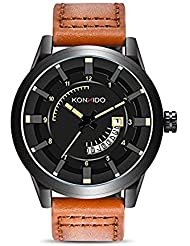 KONXIDO Mens Brown Leather Band Causal Analog Dress Quartz Wrist Watch with Black Face and Simple Design 98FT...