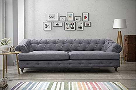 best loved 63977 4662d furniturestop.co.uk Oxford Chesterfield Linen Fabric Sofas (3 Seater, Dark  Grey)