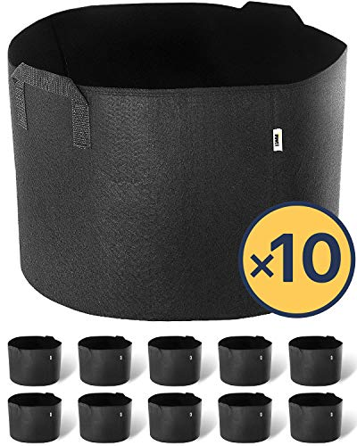 iPower 10-Gallon 10-Pack Grow Bags Fabric Aeration Pots Container with Strap Handles for Nursery Garden and Planting(Black) by iPower