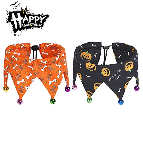 Malier 2 Pack Halloween Dogs Collar with Bells, Pets Costume Accessories Decoration for Cats Dogs Puppy Pets