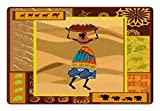 Ambesonne African Woman Pet Mat for Food and Water, Ornate Nature Inspired Motifs Swirls Camels Elephant Stylish Lady with Jug, Rectangle Non-Slip Rubber Mat for Dogs and Cats, Multicolor