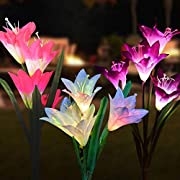 Solar Lights Outdoor - (3 Pack)Outdoor Solar Garden Stake Lights with 12 Lily Flower,Multi-Color Changing Solar Flower Lights for Garden/Patio/Yard Decoration