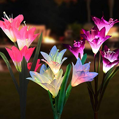 Solar Lights Outdoor 3 Pack Outdoor Solar Garden Stake Lights With 12 Lily Flower Multi Color Changing Solar Flower Lights For Garden Patio Yard Decoration