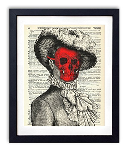 Victorian Woman With Red Skull Mask Upcycled Vintage Dictionary Art Print 8x10