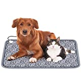 Karidge Pet Heating Pad, Electric Heating Pad for Dogs and Cats 28'x18' Safety Heated Pet Bed Waterproof Indoor Adjustable Temperature Warming Mat with Chew Resistant Steel Cord (Monogram)
