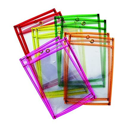 10 Piece Mind Sparks Dry Erase Pockets Neon 6 x 9 Chenille Kraft Co 9893