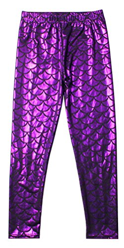 Alaroo Girls Full Length Mermaid Fish Scale Leggings Tights Purple 11-12 Years