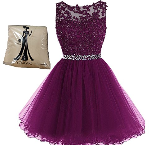 Yougou Women's Tulle Short Applique Beading Formal Homecoming Cocktail Party Dress US 24W Claret
