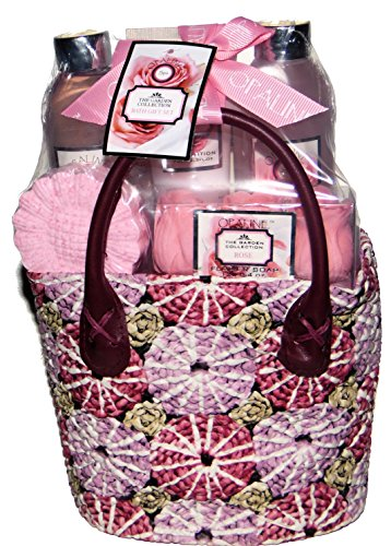Opaline Rose Garden Collection Luxury Bath Spa Gift Set - Shower Gel, Body Lotion, Bubble Bath, Flower Soap, Bath Fizzer in a Fabric Basket