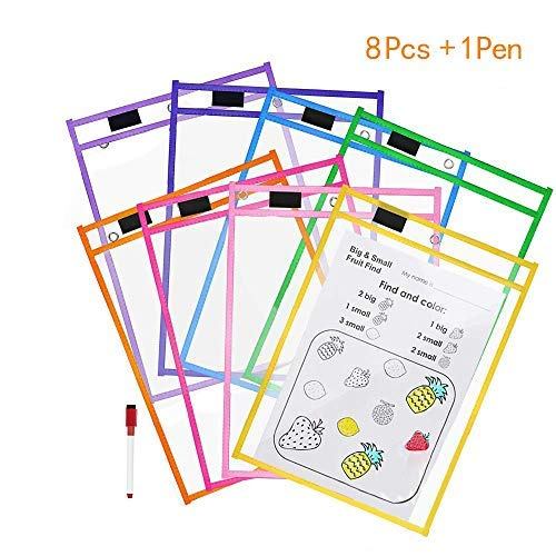 Cooldool Dry Erase Pockets, 8 Pcs Rusable Dry Erase Sleeves, 10'' x 13'' inch Eraseble Pocket Sleeve Protect Mixed Colors Pocket with Hole Hanger and Colorful Edge by Cooldool